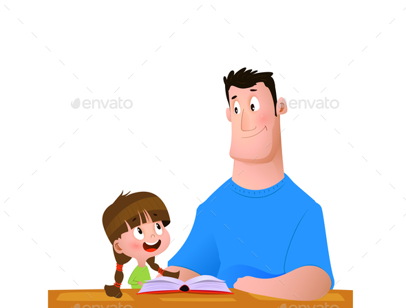 Father and Daughter Spend Time Reading a Book