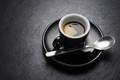 Black coffee cup on the slate background - PhotoDune Item for Sale