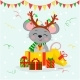 Happy New Year and Merry Christmas Mouse - GraphicRiver Item for Sale