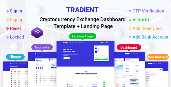 Tradient - Cryptocurrency Exchange Dashboard Template + Landing Page