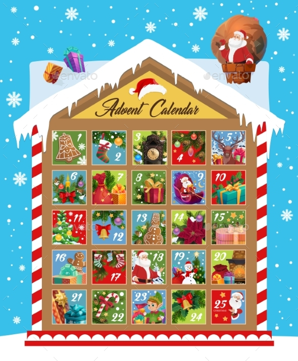 Advent Calendar of Christmas and New Year Holidays