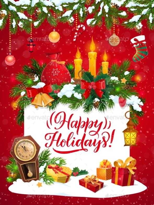 Christmas Tree, Xmas Gifts and Stocking Garland