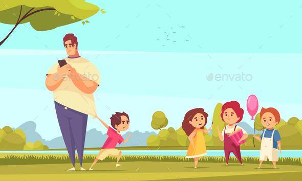 Father on Walk Carton Illustration