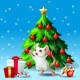Mouse Ang Fir Tree on Blue - GraphicRiver Item for Sale