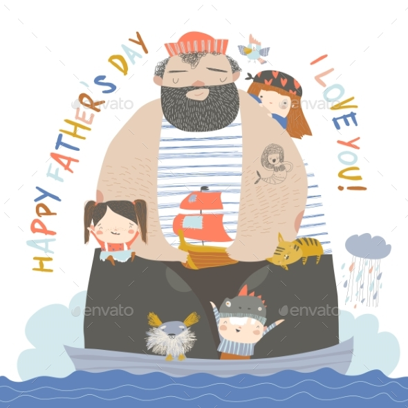 Father Sailing with Children and Animals