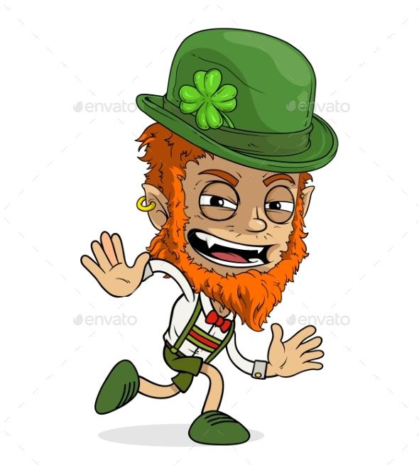 Cartoon Redhead Irish Leprechaun Boy