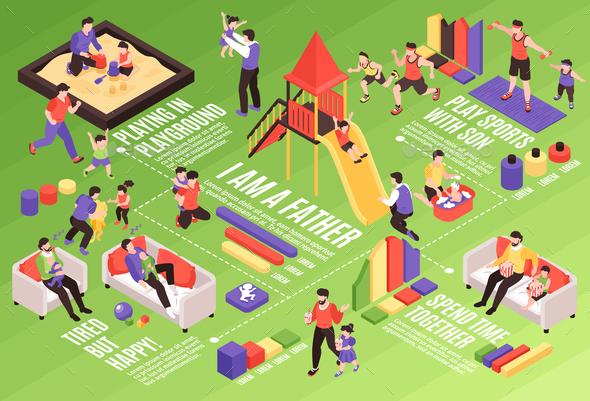 Fatherhood Isometric Infographics Background