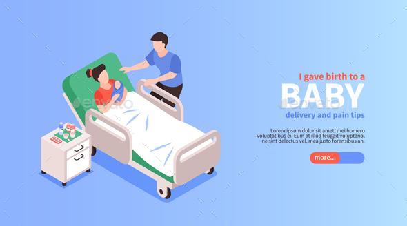 Childbirth Isometric Horizontal Banner