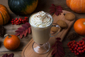 Pumpkin spice coffee latte with whipped cream and cookies - PhotoDune Item for Sale