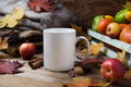 White coffee mug mockup with fall leaves and knitted plaid - PhotoDune Item for Sale