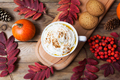 Pumpkin spice latte mug with whipped cream, top view - PhotoDune Item for Sale