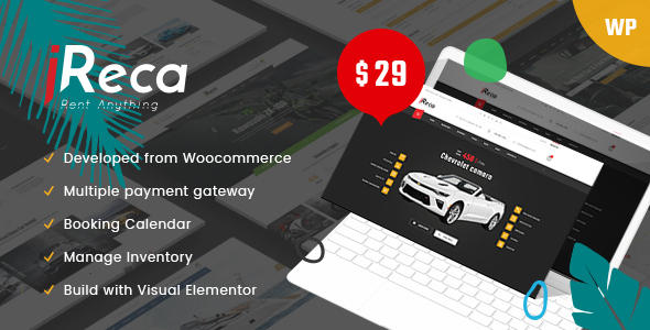 Ireca - Car Rental Boat, Bike, Vehicle, Calendar WordPress Theme