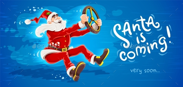 Christmas Santa Claus Drives Virtual Car with Wheel. Vector