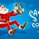 Christmas Santa Claus Drives Virtual Car with Wheel. Vector - GraphicRiver Item for Sale