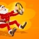 Christmas Santa Claus Drives Virtual Car with Wheel - GraphicRiver Item for Sale
