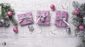 Christmas background with pink gift box - PhotoDune Item for Sale