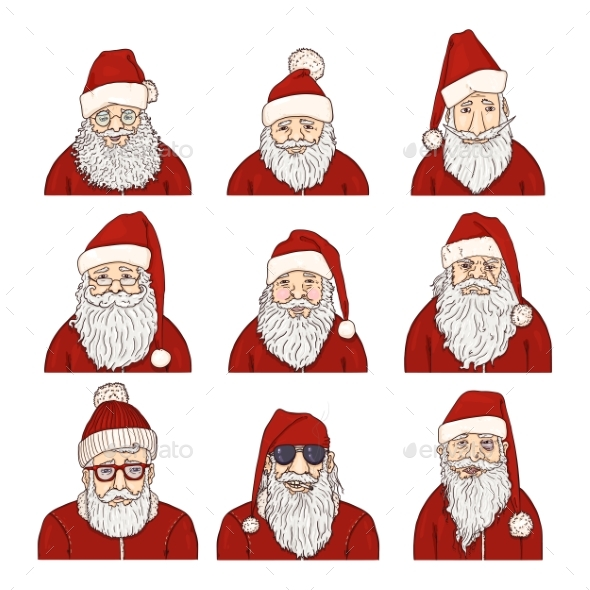 Vector Set of Cartoon Santa Claus Characters