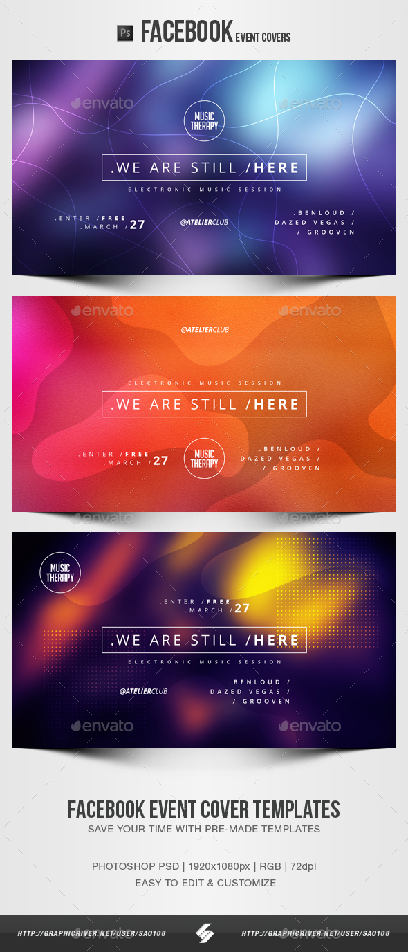 Electronic Music Party 19 - Facebook Event Cover Templates