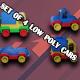 Cars low poly Set consists Car Milk tanker Racing car Truck - 3DOcean Item for Sale