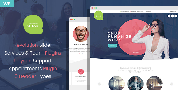 Qhab - Сoworking and Office Space WordPress Theme
