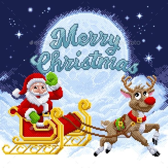 Santa Claus Reindeer Sleigh Christmas Pixel Art