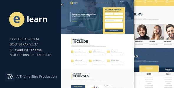 e-Learn - Onepage Bootstrap Education WordPress Theme