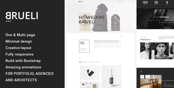 Brueli - Minimal Portfolio / Agency / Architect WordPress Theme