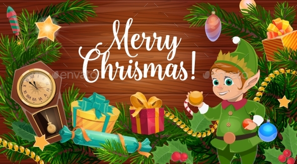 Christmas Tree Gifts and Elf on Wooden Background