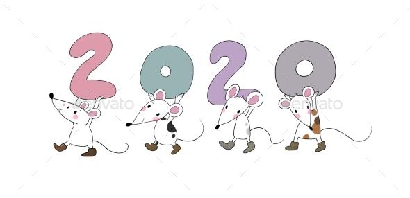 Cartoon Rats Greeting Card Chinese Zodiac