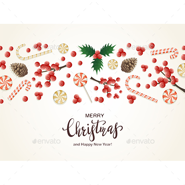 Christmas Decorations with Holly Berries and Candies