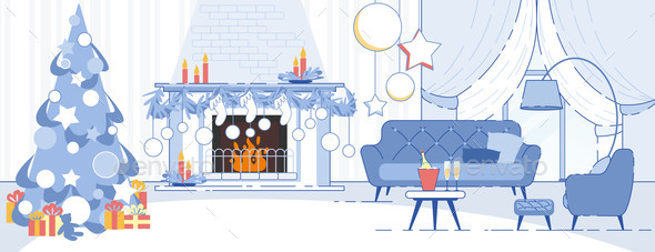 Home Interior Christmas Decorations Flat Vector