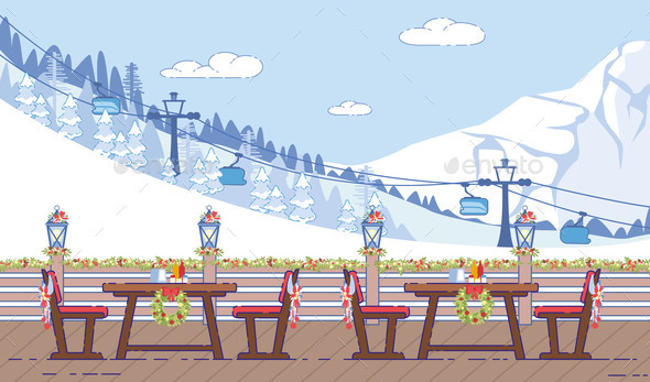 Ski Resort Cafe Christmas Decorations Flat Vector