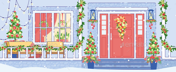 House Exterior Christmas Decorations Flat Vector