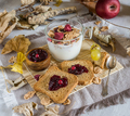 autumnal food background with rusks and jam - PhotoDune Item for Sale