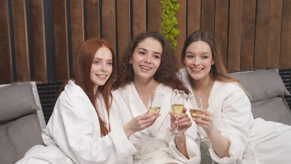 Friendly Women Relaxing in Spa and Wellness Center