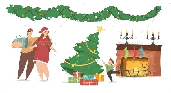 Happy Family New Year and Christmas Celebration