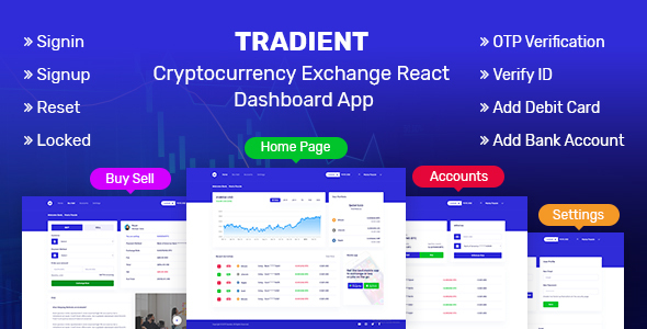 Tradient - Cryptocurrency Exchange React Dashboard App
