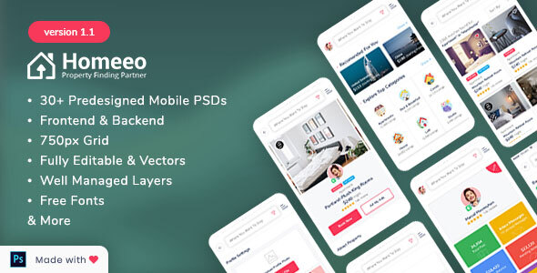 Homeeo - Booking and Rental Mobile PSD