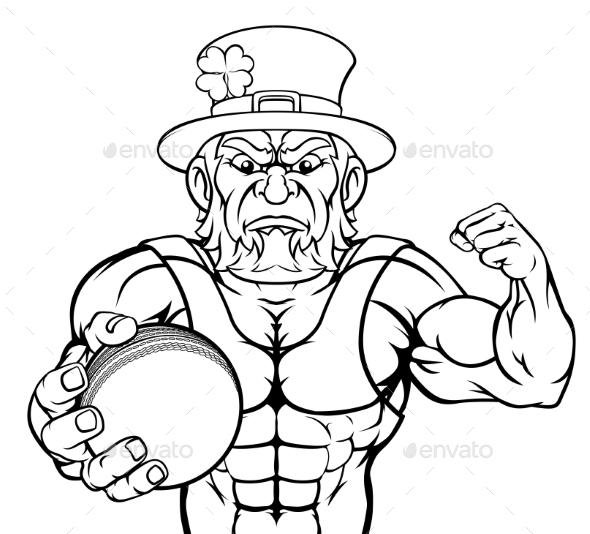 Leprechaun Holding Cricket Ball Sports Mascot