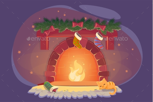 Card with Xmas Fireplace and Sleeping Cat