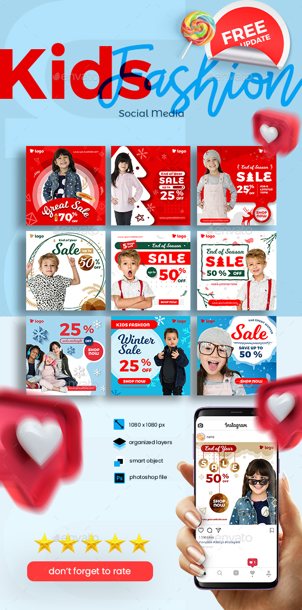 Kids Fashion Winter Sale Social Media Post template collection