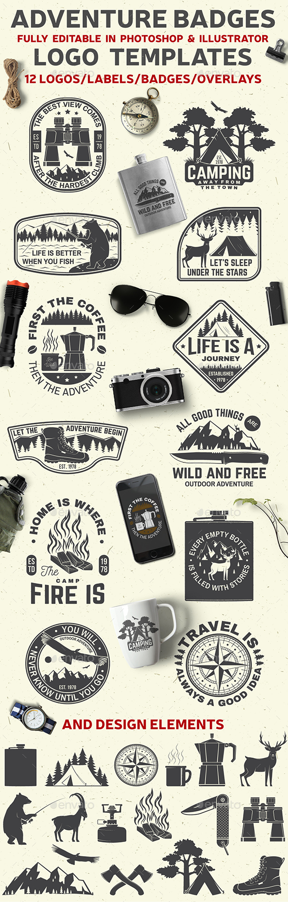 Adventure Badges With Inspirational Quotes