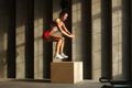 sportswoman jumps on crossfit box in gym - PhotoDune Item for Sale