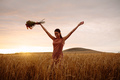 Woman enjoying a day in wheat field - PhotoDune Item for Sale