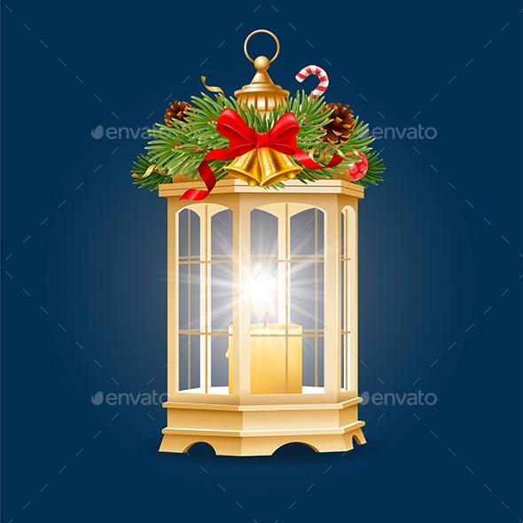 Christmas Lantern With Burning Candle Inside
