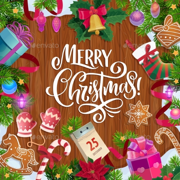 Christmas Tree and Gifts on Wooden Background