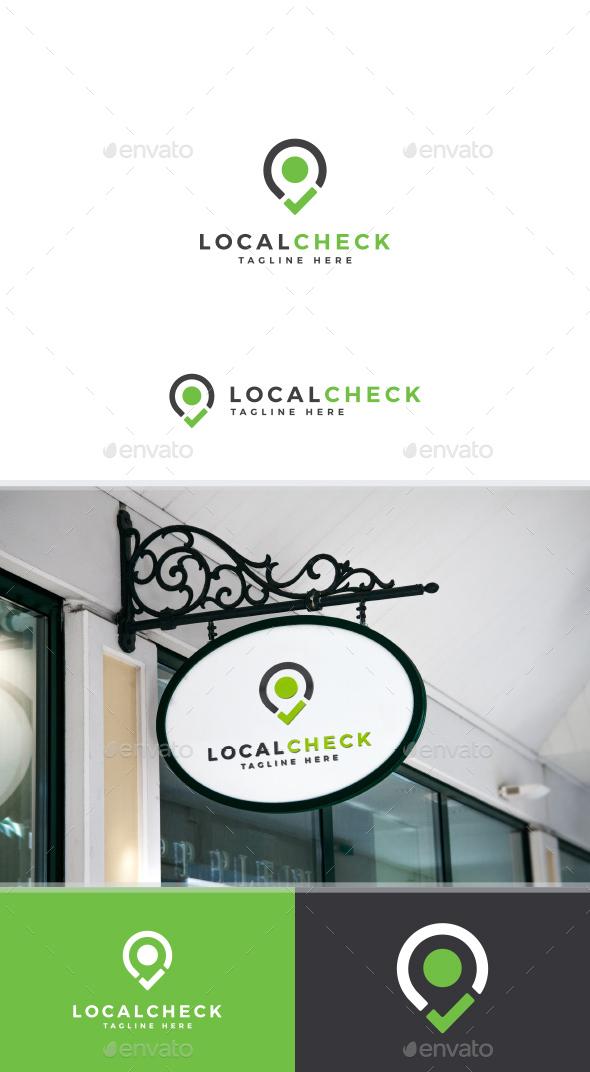 Location Check Tick Mark Logo Template