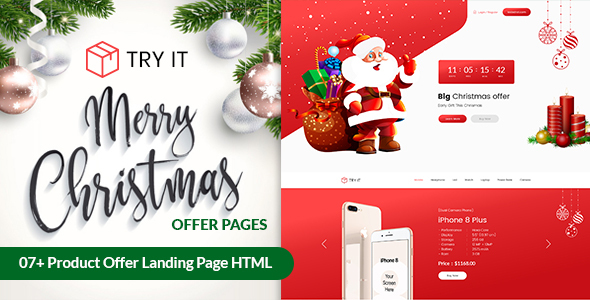 Tryit - Product Offer Christmas Landing Pages Template
