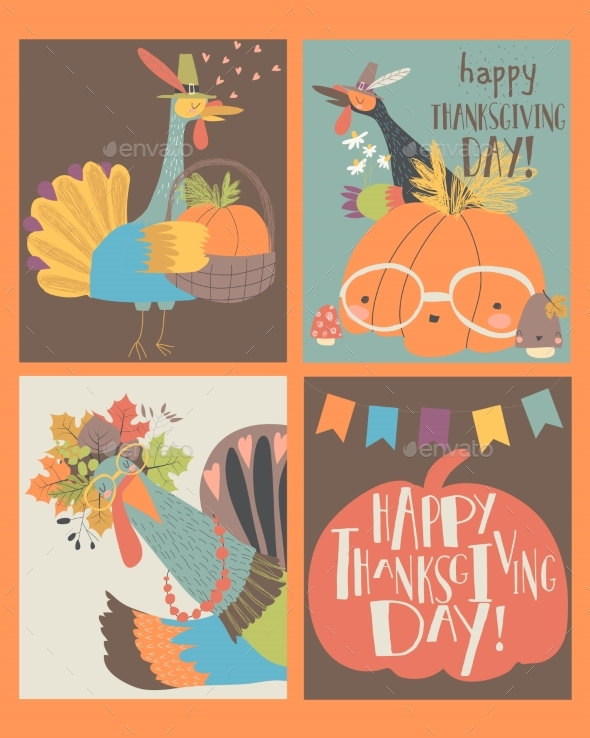 Set of Thanksgiving Card with Turkey and Pumpkin