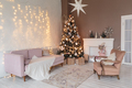 Winter home decor. Christmas tree in loft interior. Old vintage furniture - PhotoDune Item for Sale